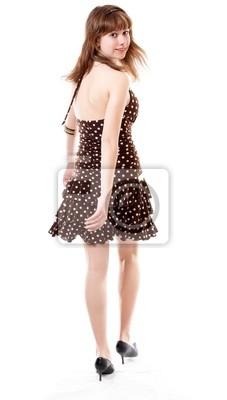 3199f7dfa6e3 Giovane ragazza in abiti estivi isolato a sfondo bianco manifesti da ...