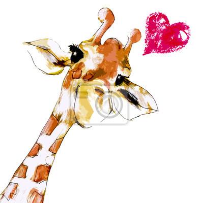 Poster Giraffa con Cuore