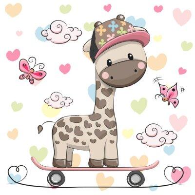 Poster Giraffa sveglia con il pattino