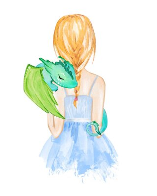 Poster Girl holding little dragon. Hand drawn watercolor illustration