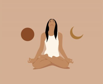 Poster Girl or woman meditate in lotus asana or position with sun and moon on both sides. Meditation or inner balance concept. Trendy minimalistic pastel terracotta colored vector illustration.