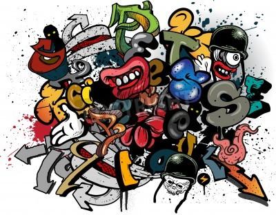 Poster Graffiti elements explosion