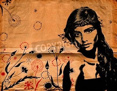 Poster graffiti moda illustrazione di una bella donna con i capelli lunghi su struttura di carta con effetto grunge