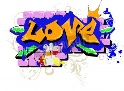 Poster graffiti murali amano Urban Art