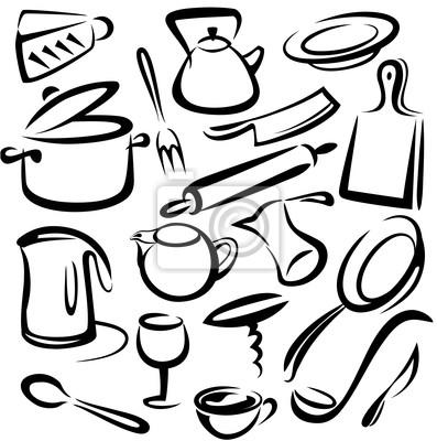 Grande set di utensili da cucina, disegno vettoriale manifesti da ...