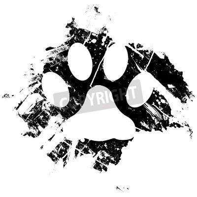 Poster Grunge animale o gatto zampa di stampa. Può essere utilizzato come sfondo o come elemento di design minore.