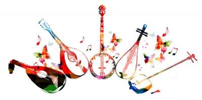 Poster Gruppo di strumenti musicali con le farfalle