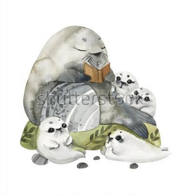Poster Guarnizioni di pelliccia carino illustrazione in stili acquerello. Il nonno legge i racconti ai suoi nipoti. Storie in immagini