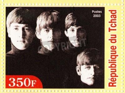 Poster GUINEA - CIRCA 2003: The Beatles - 1980 famoso gruppo pop musicale.