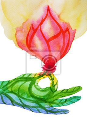 Poster Gyan Mudra (sigillo di conoscenza) con fiore di loto rosa, mano posa yoga, pittura ad acquerello, astratto potere aura di arcobaleno chakra