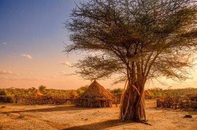 Poster Hamer villaggio vicino a Turmi, Etiopia