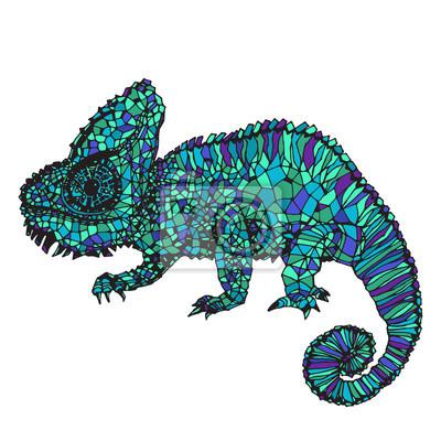 Poster Hand-drawn camaleonte illustrazione.