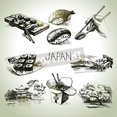Poster Hand drawn vintage Japanese set