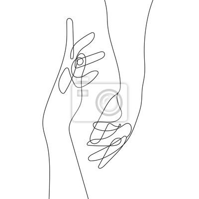 Poster Hand Gesture Continuous Line Drawing. Couple Minimalist Contour Illustration. One Line Hands Concept. Vector EPS 10.