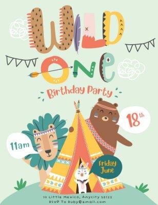 Poster Happy birthday party invitation card with cartoon tribal animals. Vector illustration - Vector
