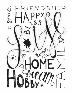 Poster Happy Life Lettering