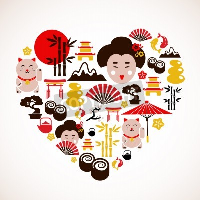 Poster Heart shape with Japan icons