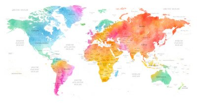 Poster High detailed Multicolor Watercolor World Map Illustration with borders, oceans and countries on white Background, Side View.