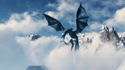 Poster High resolution Ice dragon 3D rendered. Write your text and use it as poster, header, banner or etc.