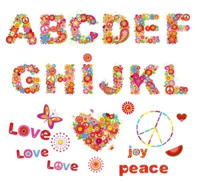 Poster Hippie alfabeto floreale con fiori colorati divertenti. Parte 1