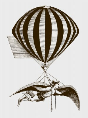 Poster Historic aerialist wearing wings while suspended from a balloon. Illustration after a woodcut from the 19th century. Editable in layers