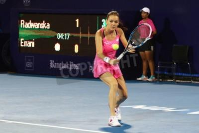 Poster Hua Hin, Thailandia - 1 gennaio 2016: Agnieszka Radwanska è classificato 5 ° nel mondo. World Tennis Championship Thailandia 2016 a Vero Arena Hua Hin sport club, Prachuap Khiri Khan.