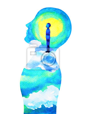 Poster human head, chakra power, fantasy abstract thinking, world, universe inside your mind, watercolor painting