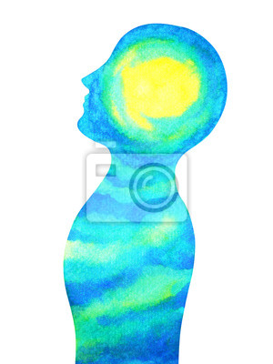 Poster human head, chakra power, inspiration abstract thinking, world, universe inside your mind, watercolor painting