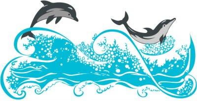 Poster I delfini che saltano in onde