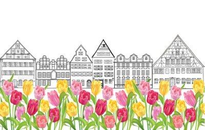 Poster I vecchi edifici e case a Amsterdam con tulipani Flower Alley.