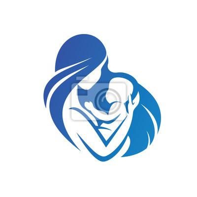 Icona Di Madre E Bambino Simbolo Vettoriale Stilizzato Manifesti Da
