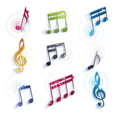 Poster Icone di note musicali impostate.