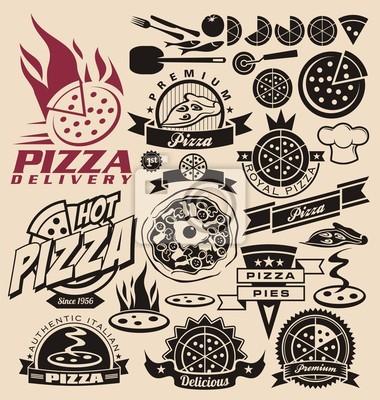 Icone Pizza Etichette Segni Disegni Logo Ed Elementi Di Design