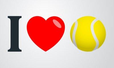Poster Icono plano amo colore tenis en fondo degradado