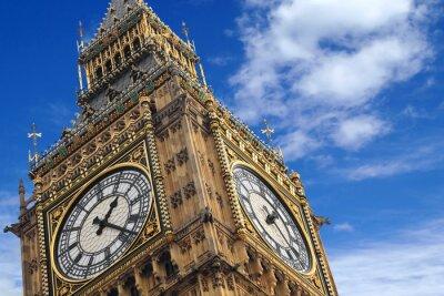 Poster Il Big Ben stretta su un cielo blu, Inghilterra Regno Unito