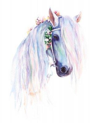 Poster Il cavallo blu con fiori nella mane. Pittura acquerellata originale.