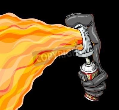 Poster Il contenitore di spray fuoco vernice graffiti.