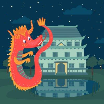 Poster Il drago rosso sveglio accanto ad un castello alla notte, storia di fiaba per l'illustrazione di vettore dei bambini