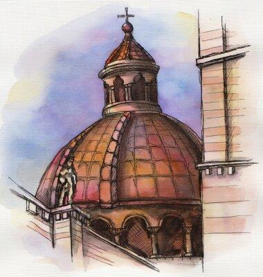 Poster il famoso edificio di Santa Maria disegno a mano acquerello di Firenze
