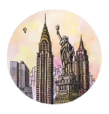 Poster il New York con la libertà monumento disegno ad acquerello mano, famosa buillding arhitectural isolato su sfondo bianco.