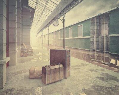 Poster il retro stazione ferroviaria