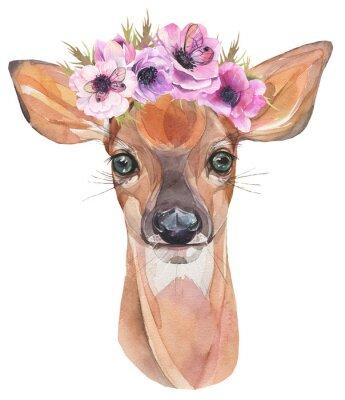 Poster Illustrazione ad acquerello Simpatico fulvo con fiori. Baby cervo.
