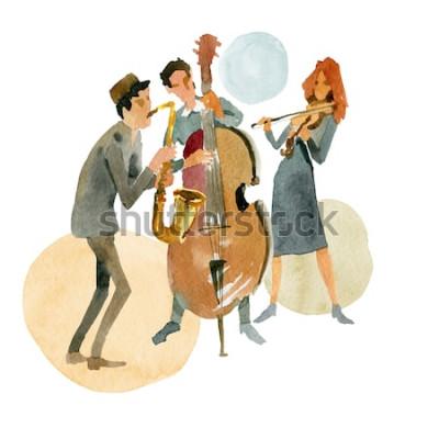 Poster Illustrazione ad acquerello Trio jazz strumentale composto da contrabbasso, violino e sassofono