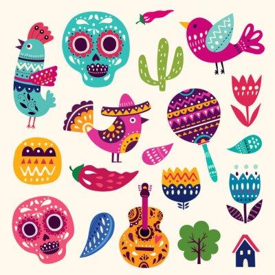 Poster Illustrazione con i simboli del Messico