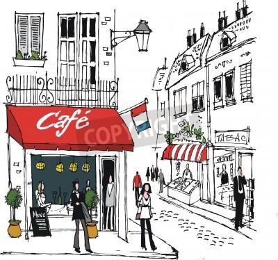 Poster illustrazione del villaggio francese Street Cafe scena