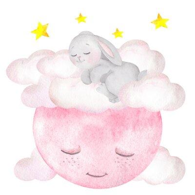Poster Illustrazione dell'acquerello con coniglio carino, luna, stelle e nuvole
