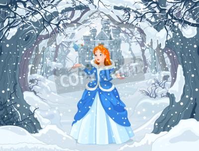 Poster Illustrazione della principessa con uccello vicino a Magic Winter Castle