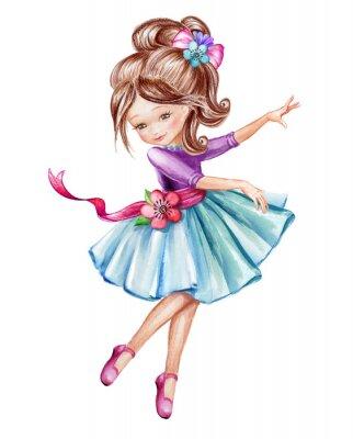 Poster Illustrazione di acquerello, cute little ballerina, ragazza in abito blu, bambino di danza, bambola, clip art isolato su sfondo bianco