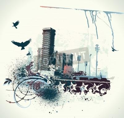 Poster illustrazione di fondo urbano con grunge tinto elementi di design