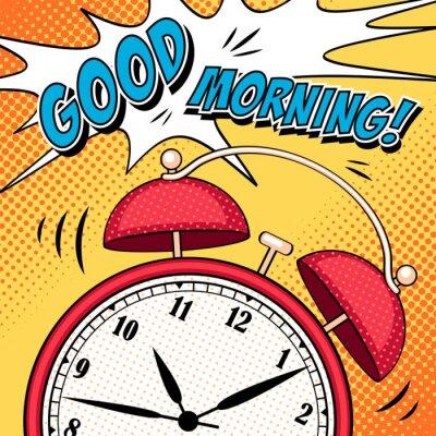Poster illustrazione di fumetti con sveglia in stile pop art